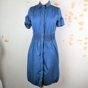 AKRIS PUNTO Blue Button Front Shirt Dress